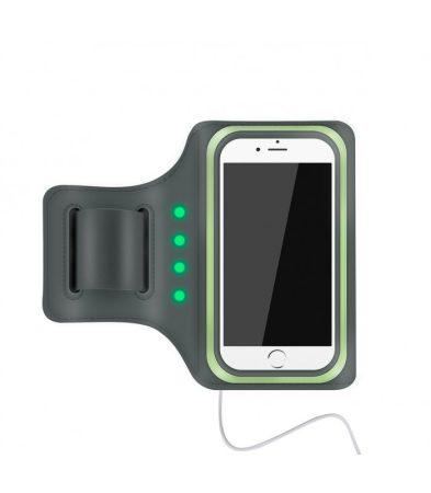 """Astrum AB550 zöld vízálló sport telefontartó felkarra, önműködő LED világítással, 5,5""""-ig"""