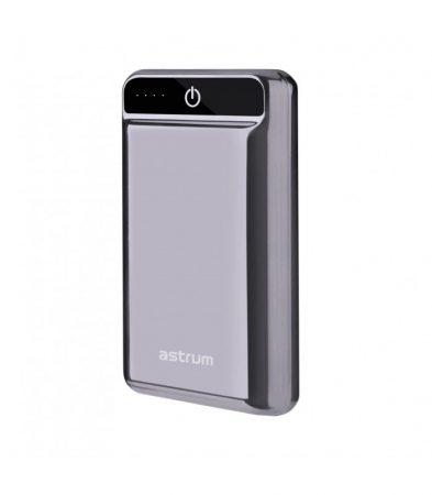 Astrum PB240 QuickCharge 3.0 külső akkumulátor 10000mAh USB, Type-C, 2X smart IC, 2A input, 3A output, LI-polymer cellákkal fekete