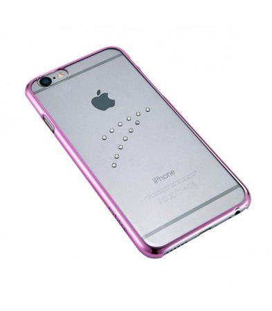 Astrum MC150 keretes átlátszó, középen Swarovski köves Apple iPhone 6/6S tok pink