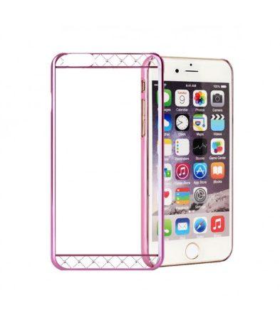 Astrum MC230 keretes átlátszó, alul felül Swarovski köves Apple iPhone 6 Plus / 6S Plus tok pink