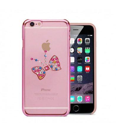 Astrum MC260 keretes pillangó mintás, színes Swarovski köves Apple iPhone 6 Plus / 6S Plus hátlapvédő pink