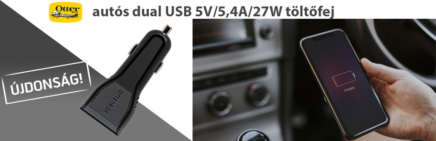 OtterBox autós dual USB 5V/5,4A/27W töltőfej